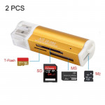 Lecteur de carte or 2 PCS Multi Tout en 1 USB 2.0 Micro SD SDHC TF M2 MMC MS PRO DUO - Wewoo