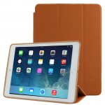 3-fold Naturally Treated Smart Leather Case with Sleep / Wake-up Function & Holder for iPad Air 2(Brown)