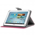 Universal Crazy Horse Texture Horizontal Flip Leather Case with Holder for 10 inch Tablet PC(Magenta)