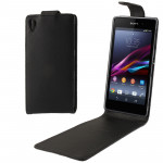 High Quality Vertical Flip Leather Case for Sony Xperia Z1 / L39h (Black)