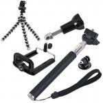 5 in 1 Monopod + Tripod + Phone Holder Mount Set for GoPro HERO4 /3+ /3 /2 /1 / SJ4000 / iPhone 5, Samsung Galaxy S5