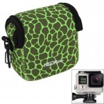 GN-5 Leopard Texture GoPro Accessories Waterproof Housing Neoprene Inner Protective Bag Camera Pouch for GoPro Hero4 /3+ /3(Gree
