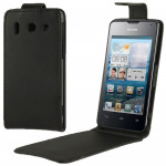 Vertical Flip Leather Case for Huawei G510 (Black)