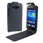Vertical Flip Magnetic Button Leather Case for Huawei Ascend Y520