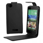 Vertical Flip Solid Color Leather Case for HTC Desire 320(Black)