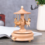 Carousel Shape Home Decor Originality Wooden Musical Boxes