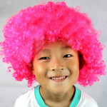 Colorful Wild-Curl Up Crown Party Cosplay Headwear Wavy Short Polyester Yarn Made Wigs For Adult And Child(Pink)