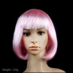 Colorful Party Cosplay Headwear Straight Short PET Wigs For Female(Pink)