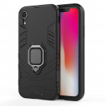 PC + TPU Shockproof Protective Case with Magnetic Ring Holder For iPhone X / XS (Black)
