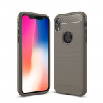 Brushed Texture Carbon Fiber Shockproof TPU Protective Back Case for iPhone X / XS (Grey)