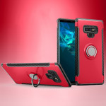 Magnetic Armor Protective Case for Galaxy Note 9, with 360 Degree Rotation Ring Holder(Red)