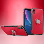 Magnetic 360 Degrees Rotation Ring Armor Protective Case for iPhone XR(Red)