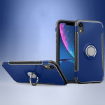 Magnetic 360 Degrees Rotation Ring Armor Protective Case for iPhone XR(Blue)
