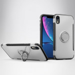Magnetic 360 Degrees Rotation Ring Armor Protective Case for iPhone XR(Silver)