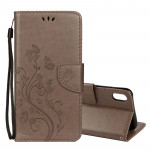 Embossed Butterfly Pattern Horizontal Flip Leather Case with Card Slot & Holder & Wallet & Lanyard For iPhone XR (Grey)