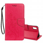 Embossed Butterfly Pattern Horizontal Flip Leather Case with Card Slot & Holder & Wallet & Lanyard For iPhone XR (Magenta)
