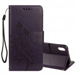 Embossed Butterfly Pattern Horizontal Flip Leather Case with Card Slot & Holder & Wallet & Lanyard For iPhone XR (Dark Purple)