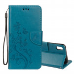 Embossed Butterfly Pattern Horizontal Flip Leather Case with Card Slot & Holder & Wallet & Lanyard For iPhone XR (Blue)
