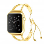 Letter V Shape Bracelet Metal Wrist Watch Band with Stainless Steel Buckle for Apple Watch Series 3 & 2 & 1 42mm (Gold)