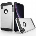 Brushed Texture Shockproof Rugged Armor Protective Case for iPhone XR(White)