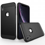 Brushed Texture Shockproof Rugged Armor Protective Case for iPhone XR(Black)