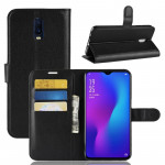 Litchi Texture Horizontal Flip PU Leather Case for OPPO R17, with Holder & Card Slots & Wallet (Black)