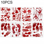 10 PCS Halloween Decorations PVC Creative Blood-printed Wall Stickers Window Stickers, Size: 25*30cm, Random Style Delivery