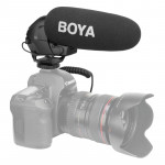 BOYA BY-BM3031 Shotgun Super-cardioid Condenser Broadcast Microphone with Windshield for Canon / Nikon / Sony DSLR Cameras(Black