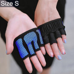 Half Finger Yoga Gloves Anti-skid Sports Gym Palm Protector, Size: S, Palm Circumference: 17.5cm (Blue)