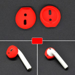 2 PCS Wireless Bluetooth Earphone Silicone Ear Caps Earpads for Apple AirPods (Red)