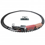 SS333-64 Electric Retro Simulation Train Model Children Toys Light Music Track Train (Red)