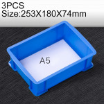 3 PCS Thick Multi-function Material Box Brand New Flat Plastic Parts Box Tool Box, Size: 253mm X 180mm X 74mm(Blue)