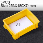 3 PCS Thick Multi-function Material Box Brand New Flat Plastic Parts Box Tool Box, Size: 253mm X 180mm X 74mm(Yellow)