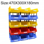 Thickened Oblique Plastic Box Combined Parts Box Material Box, Random Color Delivery, Size: 470mm X 300mm X 180mm