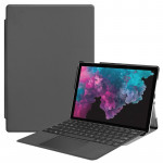Custer Texture Horizontal Flip PU Leather Case for Microsoft Surface Pro 4 / 5 / 6 12.3 inch, with Holder & Pen Slot(Grey)