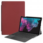 Custer Texture Horizontal Flip PU Leather Case for Microsoft Surface Pro 4 / 5 / 6 12.3 inch, with Holder & Pen Slot(Wine Red)