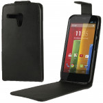 Vertical Flip Leather Case for MOTO G (Black)