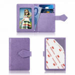 Embossed Texture Multi-functional Wallet Card Bag Can be Attached to The Phone Or The Car (Purple)