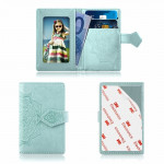 Embossed Texture Multi-functional Wallet Card Bag Can be Attached to The Phone Or The Car (Baby Blue)
