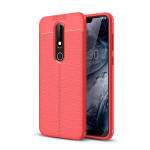 Litchi Texture TPU Shockproof Case for Nokia 6.1Plus / X6 (Red)