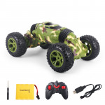 1086 Rechargeable 4 Channels Deformation Stunt Twisting Car Toy Car(Green)