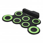 Portable Silicone Hand Roll USB Electronic Drum(Green)