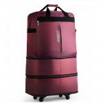 91L Retractable Suitcase Foldable Unisex Suitcase Lockable Travel Spinner Rolling Trolley Clothing Bag(Light Purple)
