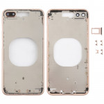 Transparent Back Cover with Camera Lens & SIM Card Tray & Side Keys for iPhone 8 Plus (Gold)