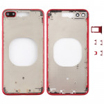 Transparent Back Cover with Camera Lens & SIM Card Tray & Side Keys for iPhone 8 Plus (Red)