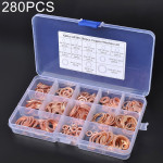 280 PCS O Shape Solid Copper Crush Washers Assorted Oil Seal Flat Ring Kit for Car / Boat / Generators
