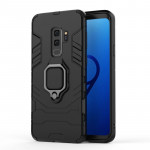 PC + TPU Shockproof Protective Case for Galaxy S9 Plus, with Magnetic Ring Holder (Black)