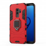 PC + TPU Shockproof Protective Case for Galaxy S9 Plus, with Magnetic Ring Holder (Red)