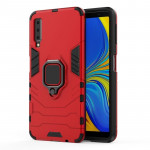 PC + TPU Shockproof Protective Case for Galaxy A7(2018), with Magnetic Ring Holder (Red)