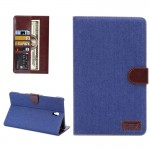 Denim Texture Horizontal Flip Leather Case with Card Slot & Wallet & Holder for Samsung Galaxy Tab S 8.4 / T700(Blue)